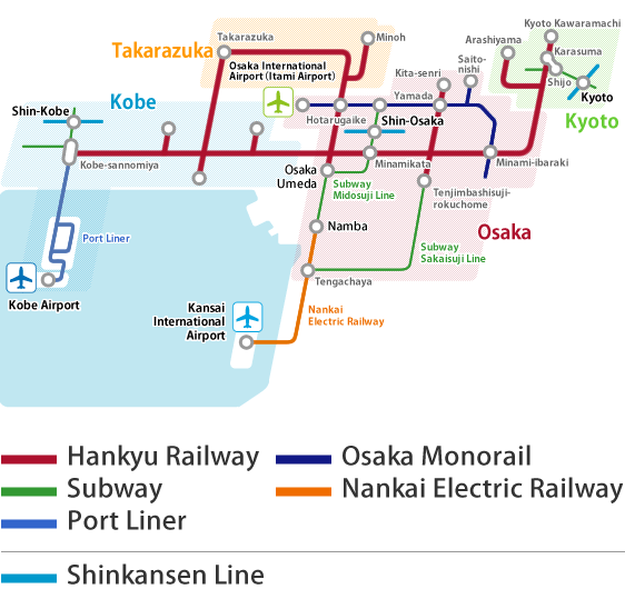 Osaka Rail And Subway Map.Access From Airport And Shinkansen Traffic From Airports Kansai